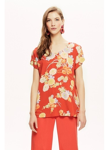 NaraMaxx Desenli Dökümlü Bluz Renkli